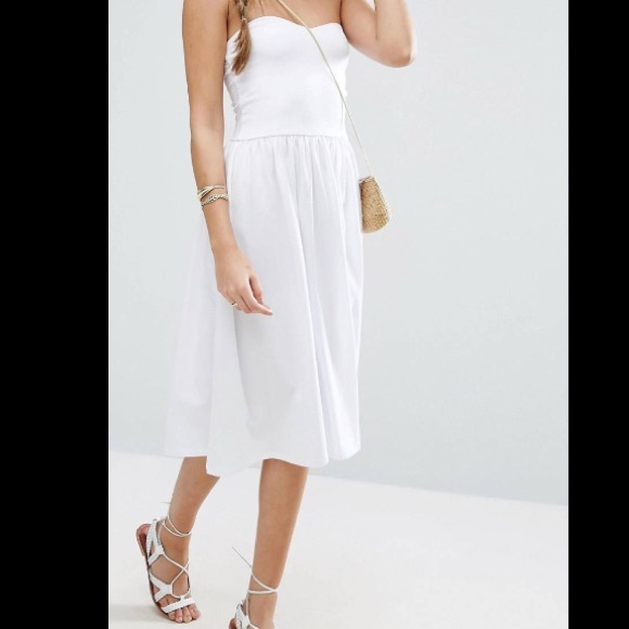 5b7e847744a ASOS Dresses   Skirts - White Womens Strapless Sweetheart Midi Dress